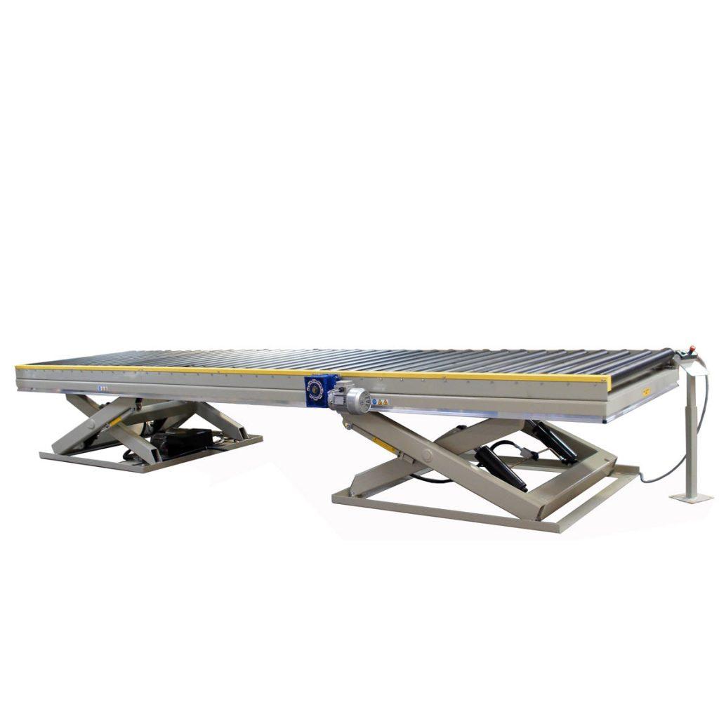Dobbeltsaks løftebord med rullebanetop